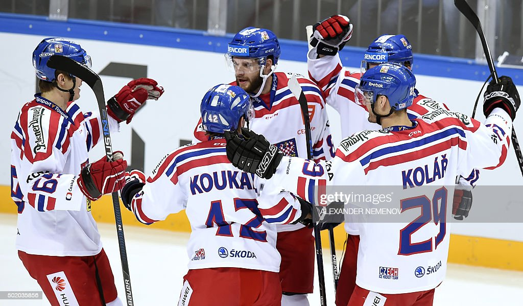 Czech Republic's players celebrate a goal during a Channel One Cup hockey match of the Euro Hockey Tour match between Russia and Czech Republic in...