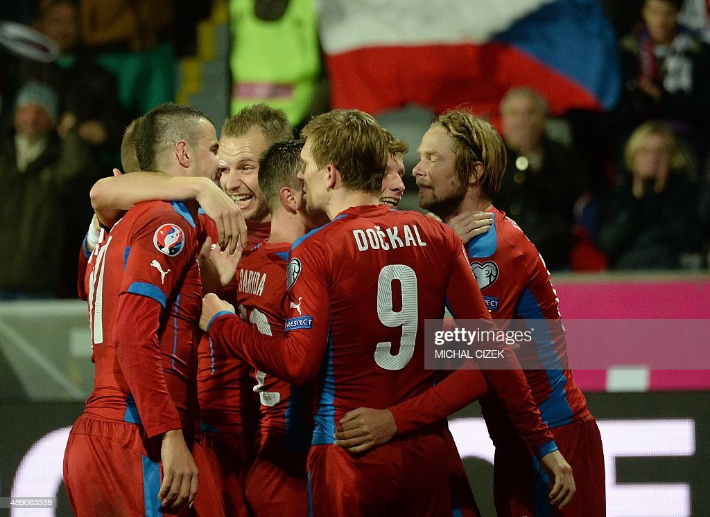 Czech Republic's players celebrate the 2nd goal during the UEFA 2016 European Championship qualifying round Group A football match Czech Republic vs...
