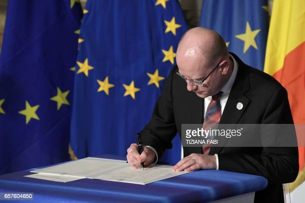 Czech Republic's Prime Minister Bohuslav Sobotka signs the new Rome declaration with leaders of 27 European Union countries special during a summit...
