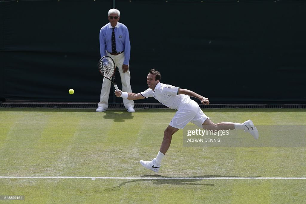 Czech Republic's Radek Stepanek returns against Australia's Nick Kyrgios during their men's singles first round match on the second day of the 2016 Wimbledon Championships at The All England Lawn Tennis Club in Wimbledon, southwest London, on June 28, 2016. / AFP / ADRIAN
