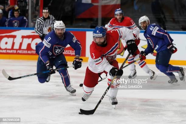 Czech Republic's Radko Gudas controls the puck during the IIHF Men's World Championship group B ice hockey match between France and Czech Republic in...