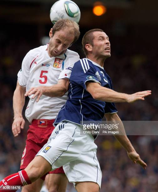 Czech Republic's Roman Hubnik battles with Scotland's Phil Bardsley during the European Championship Qualifying match at Hampden Park Glasgow