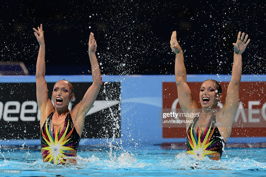 Czech Republic's Sona Bernardova and Alzbeta Dufkova compete in the duet technique preliminary round during the synchronised swimming competition in the FINA World Championships at the Palau Sant Jordi in Barcelona, on July 21, 2013.