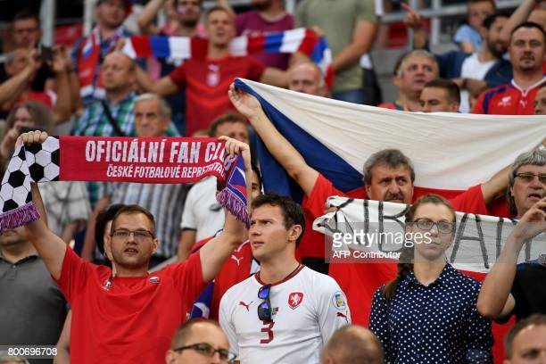 Czech Republic's supporters cheer during the UEFA U21 European Championship Group C football match Czech Republic v Denmark in Tychy Poland on June...