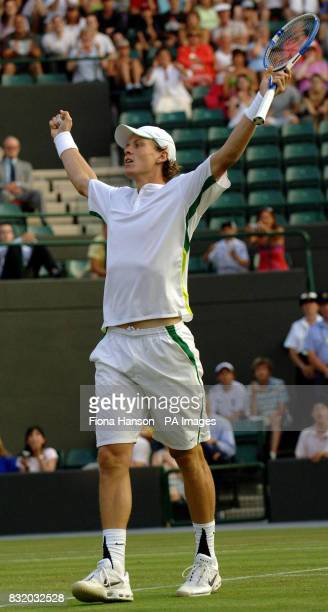 Czech Republic's Tomas Berdych celebrates his win over Germany's Tommy Haas during the third round of The All England Lawn Tennis Championships at...