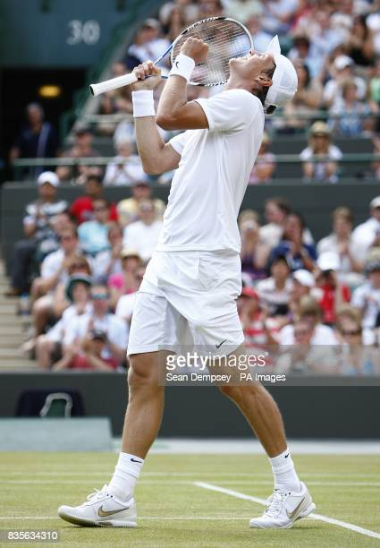 Czech Republic's Tomas Berdych celebrates winnig his match against Russia's Nikolay Davydenko during the Wimbledon Championships 2009 at the All...
