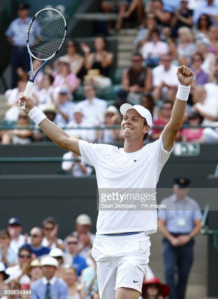 Czech Republic's Tomas Berdych celebrates winning his match against Russia's Nikolay Davydenko during the Wimbledon Championships 2009 at the All...
