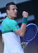 Czech Republic's Tomas Berdych celebrates winning the second set during his men's singles match against Spain's Roberto Bautista Agut on day seven of...