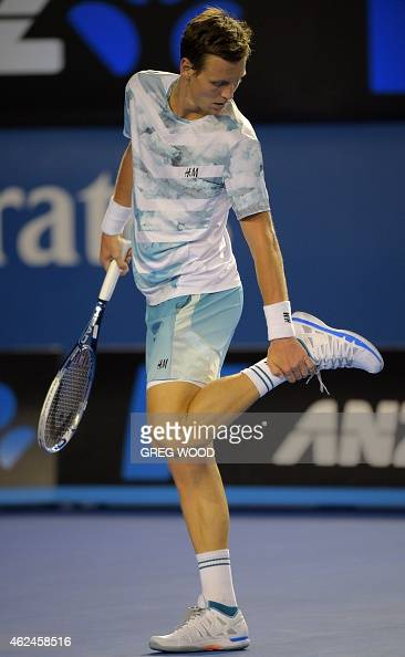 Tomas Berdych wore Novak Djokovic's face on his Adidas shoes after Djokovic's elbow injury forced him to retire from his quarterfinal match.