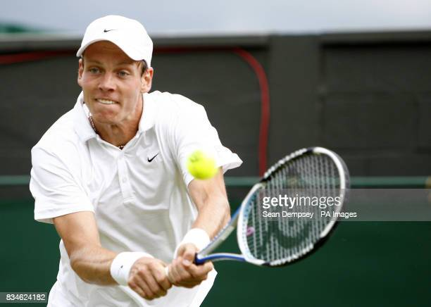 Czech Republic's Tomas Berdych in action against Spain's Fernando Verdasco during the Wimbledon Championships 2008 at the All England Tennis Club in...