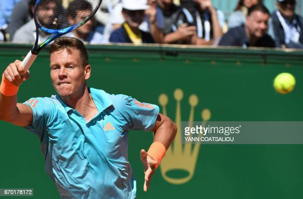 Czech Republic's Tomas Berdych returns to Germany's Tommy Haas during the MonteCarlo ATP Masters Series tournament on April 19 2017 in Monaco / AFP...