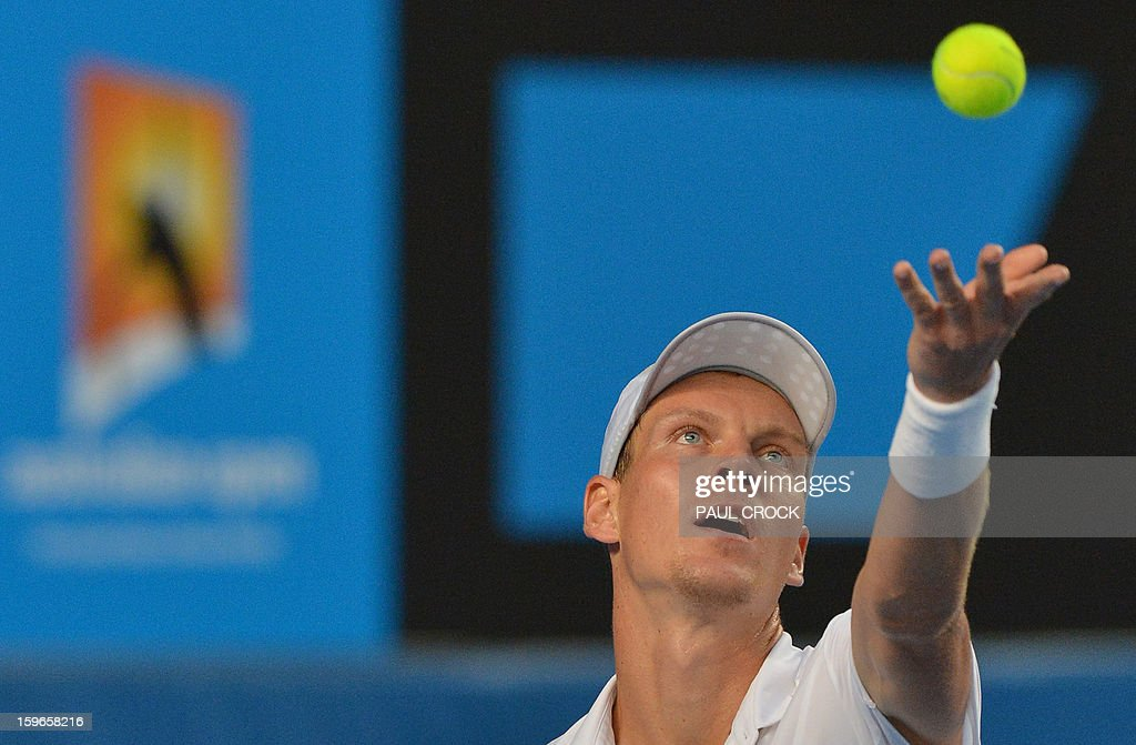 Czech Republic's Tomas Berdych serves during his men's singles match against Austria's Jurgen Melzer on the fifth day of the Australian Open tennis tournament in Melbourne on January 18, 2013.