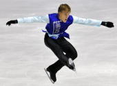 Czech Republic's Tomas Verner performs his free skating program at the Dom Sportova Arena in Zagreb 24 January 2008 during the European Figure...