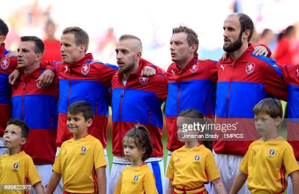 Czech Republic's Vladimir Darida David Limbersky Jiri Skalak Ladislav Krejci and Roman Hubnik during the national anthems