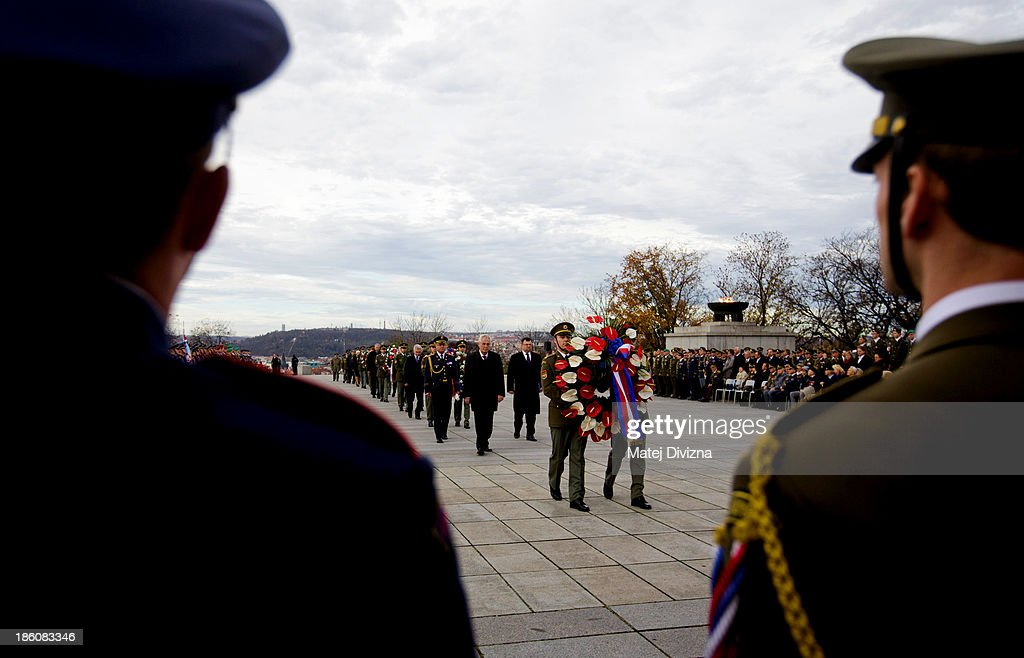 Czech soldiers carry wreaths to lay at the National Memorial during an Independence Day ceremony at Vitkov Hill on October 28, 2013 in Prague, Czech Republic. The Czech Republic is marking the 95th anniversary of the creation of an independent Czechoslovak nation in 1918.