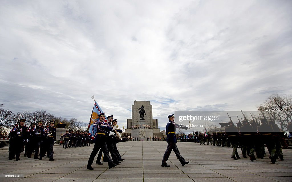Czech soldiers march past the National Memorial during an Independence Day ceremony at Vitkov Hill on October 28, 2013 in Prague, Czech Republic. The Czech Republic is marking the 95th anniversary of the creation of an independent Czechoslovak nation in 1918.
