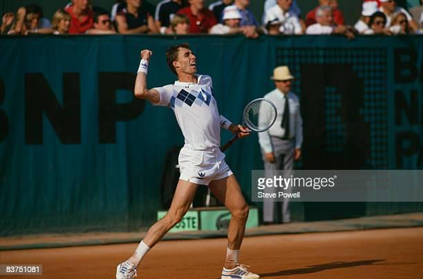 Czech tennis player Ivan Lendl celebrates at the men's singles final of the Tournoi de RolandGarros at the Stade Roland Garros Paris June 1984 Lendl...