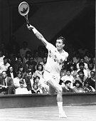 Czech tennis player Ivan Lendl competes in a match at Wimbledon Tennis Championships in London England July 1984