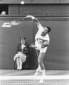 Czech tennis player Ivan Lendl competes in a match at Wimbledon Tennis Championships in London England July 1985