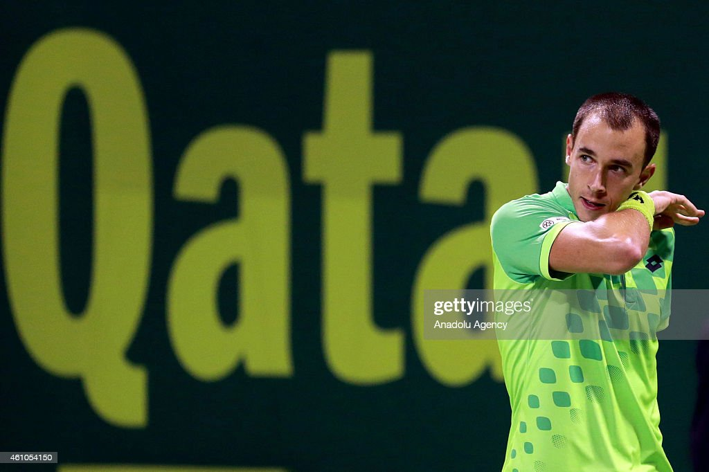 Czech tennis player <a gi-track='captionPersonalityLinkClicked' href=/galleries/search?phrase=Lukas+Rosol&family=editorial&specificpeople=4100845 ng-click='$event.stopPropagation()'>Lukas Rosol</a> reacts during a tennis match with Ivo Karlovic of Crotia in the Qatar's ExxonMobil Open at the Khalifa International Tennis and Squash Complex in the capital Doha on January 5, 2015.