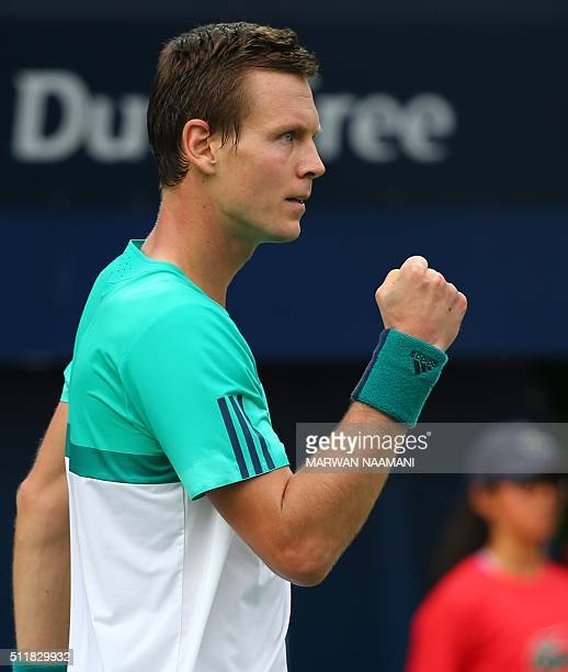 Czech tennis player Tomas Berdych reacts after winning a point against Portuguese Joao Sousa during their ATP tennis match on the second round of the...