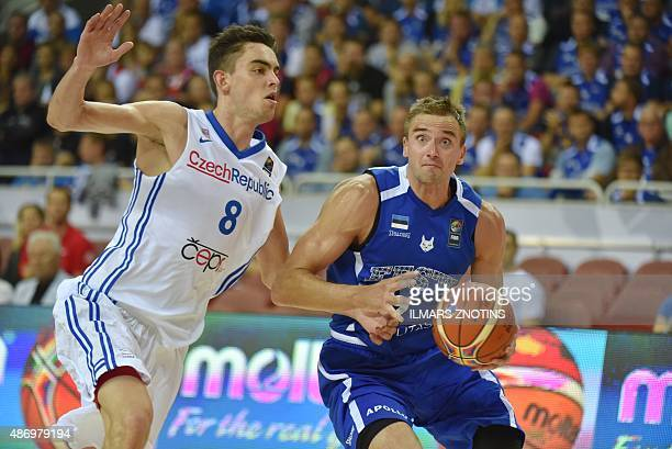 Czech Tomas Satoransky vies for the ball with Estonia's Gregor Arbet during the Eurobasket 2015 group D basketball match Czech Republic vs Estonia in...