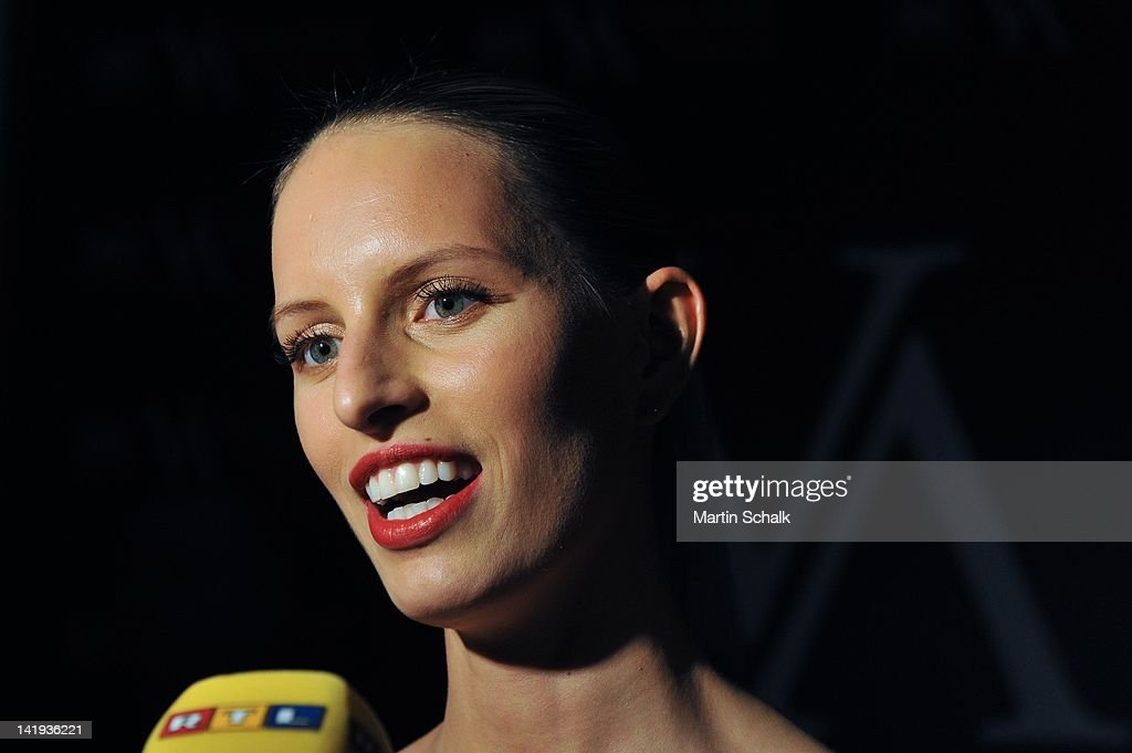 Czech top model <a gi-track='captionPersonalityLinkClicked' href=/galleries/search?phrase=Karolina+Kurkova&family=editorial&specificpeople=202513 ng-click='$event.stopPropagation()'>Karolina Kurkova</a> seen during a TV interview prior to the Vienna Awards For Fashion & Lifestyle at Museumsquartier on March 26, 2012 in Vienna, Austria.