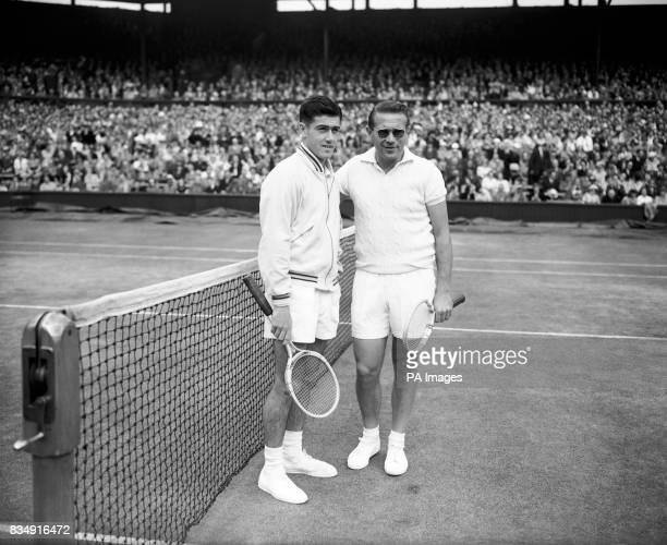 Czechborn Jaroslav Drobny now playing under Egypt's banner right with 19 year old Australian Ken Rosewall before the final