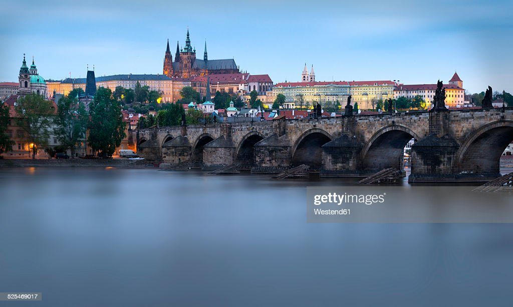 Czechia, Prague, Charles Bridge and Prague Castle in the evening