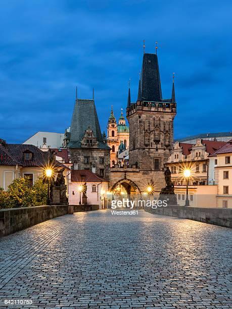 Czechia, Prague, Charles Bridge in the evening