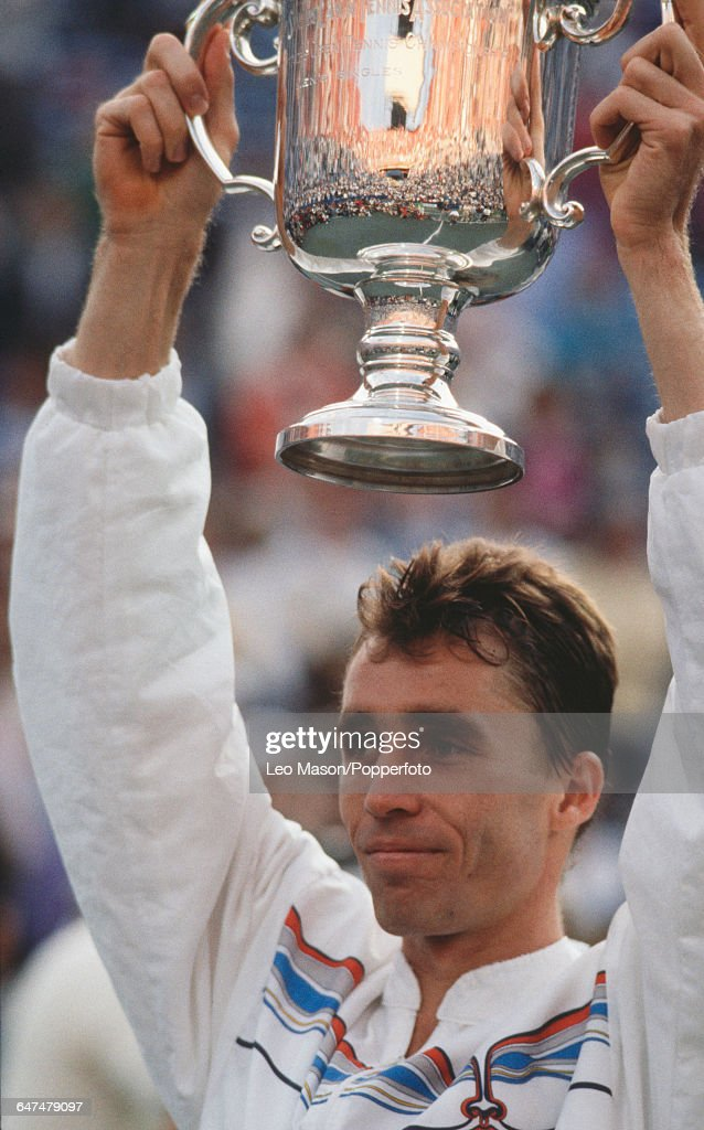 Czechoslovak tennis player Ivan Lendl holds up the US OpenTrophy after defeating Miloslav Mecir in the final of the 1989 US Open Men's Singles tennis...