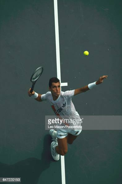 Czechoslovak tennis player Ivan Lendl pictured in action competing to reach the final of the 1989 US Open Men's Singles tennis tournament at the USTA...
