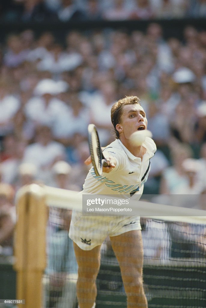 Czechoslovak tennis player Ivan Lendl pictured in action competing to reach the fourth round of the Men's Singles tournament at the Wimbledon Lawn...