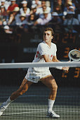 Czechoslovak tennis player Ivan Lendl pictured in action competing to reach the final of the 1984 US Open Men's Singles tennis tournament at the USTA...