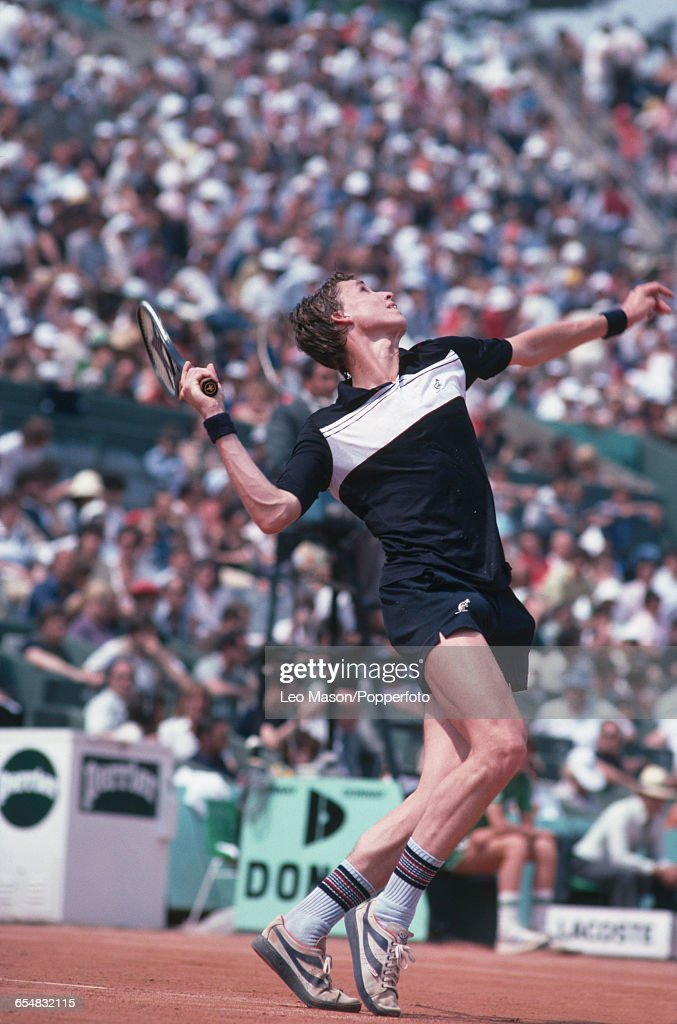 Czechoslovak tennis player Ivan Lendl pictured in action competing to reach the fourth round of the Men's Singles tournament at the 1979 French Open...