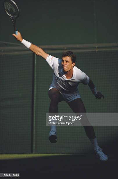 Czechoslovak tennis player Ivan Lendl pictured in action competing to progress to reach the semifinals of the Men's Singles tournament at the...