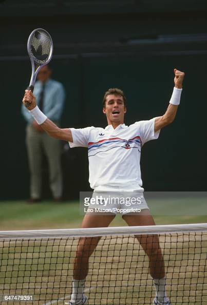Czechoslovak tennis player Ivan Lendl pictured in celebration as he competes to progress to the final of the Men's Singles tournament at the...