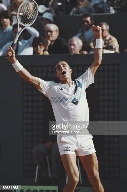 Czechoslovak tennis player Ivan Lendl raises his arms in the air in celebration after beating Mikael Pernfors of Sweden 63 62 64 in the final of the...