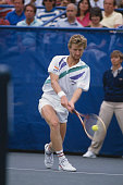 Czechoslovak tennis player Miloslav Mecir pictured in action competing to reach the final of the 1989 US Open Men's Singles tennis tournament at the...