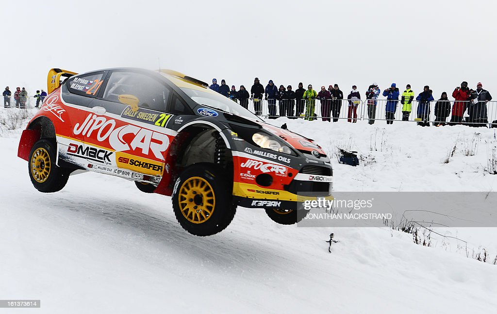 Czech's Martin Prokop and his co-driver Michal Ernst steer their Ford Fiesta RS WRC during Kirkenaer stage, the 19th of Rally Sweden, second round of the FIA World Rally Championship on February 10, 2013 in Kirkenaer, Norway.