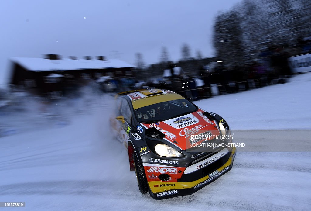 Czech's Martin Prokop and his co-driver Michal Ernst steer their Ford Fiesta RS WRC during Mitandersfors stage, the 17th of Rally Sweden, second round of the FIA World Rally Championship on February 10, 2013 on the border to Norway near Torsby, north of Karlstad, Sweden.