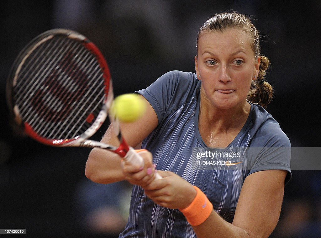 Czech's Petra Kvitova returns the ball to Germany's Julia Goerges in their match of the WTA Porsche Tennis Grand Prix in Stuttgart, southwestern Germany, on April 25, 2013.