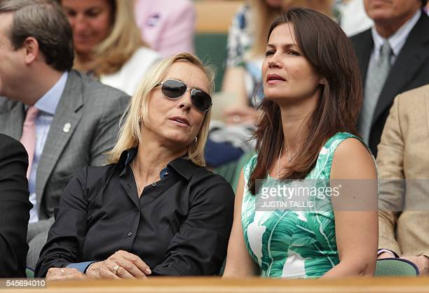 CzechUS former tennis champion Martina Navratilova sits with her wife Russian businesswoman and former model Julia Lemigova in the royal box on...
