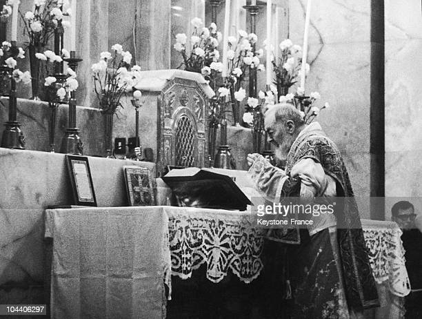 PIO da PIETRALCINA pictured during the Holy Mass he celebrates at San Giovanni Rotondo where the priest famous all over the world to have received...