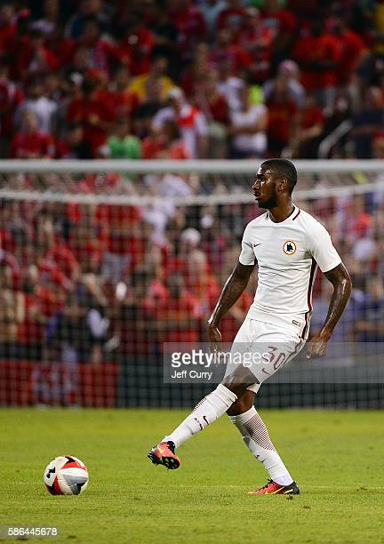Da Silva Gerson of AS Roma handles the ball against Liverpool FC during a friendly match at Busch Stadium on August 1 2016 in St Louis Missouri AC...