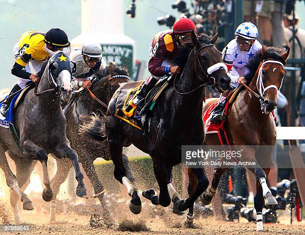 Da' Tara under jockey Alan Garcia Robert V LaPenta trainer overruns Big Brown under jockey Kent Desormeaux Richard Dutrow trainer as Kent Desormeaux...