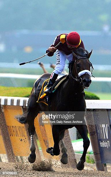 Da' Tara under jockey Alan Garcia wins at the running of the 140th Belmont Stakes June 7 2008 at Belmont Race Park in Elmont New York Only 11 horses...