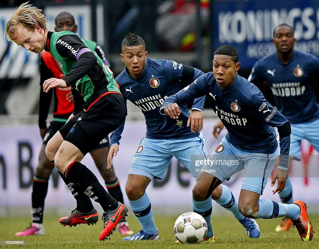 Daan Bovenberg of NEC, Jean Paul Boetius, Tonny Vilhena during the Dutch Eredivisie match between NEC Nijmegen and Feyenoord at the Goffert Stadium on march 03, 2013 in Nijmegen, The Netherlands
