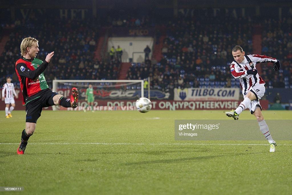 Daan Bovenberg of NEC Nijmegen, Robbie Haemhouts of Willem II during the Dutch Eredivisie Match between Willem II and NEC Nijmegen at the Koning Willem II Stadium on february 22, 2013 in Tilburg, The Netherlands