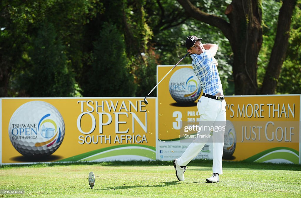 Daan Huizing of the Netherlands plays a shot during the final round of the Tshwane Open at Pretoria Country Club on February 14, 2016 in Pretoria, South Africa.